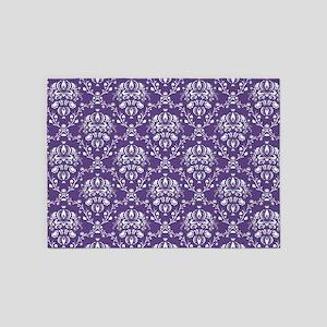 Purple Damask 5'x7'Area Rug
