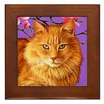 Long Haired Orange Tabby Cat Framed Tile