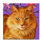 Long Haired Orange Tabby Cat Tile Coaster