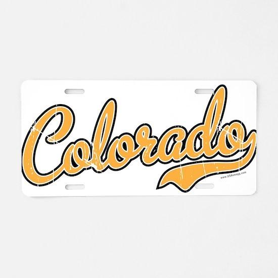 Colorado Script Gold VINTAG Aluminum License Plate
