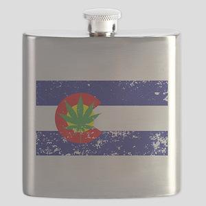 Colorado State Flag Marijuana Pot Weed Leaf Flask
