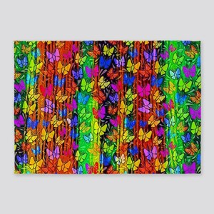 Tropical wave butterflies 5'x7'Area Rug