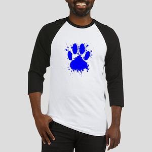 Blue Paint Splatter Dog Paw Print Baseball Jersey
