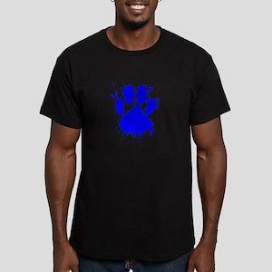 Blue Paint Splatter Dog Paw Print T-Shirt