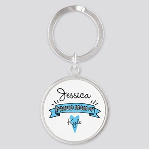 Proud Mom Of Son Round Keychain