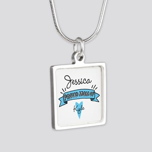 Proud Mom Of Son Silver Square Necklace