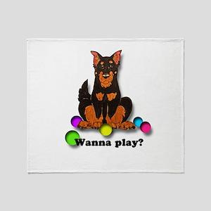 Beauceron Wanna Play Throw Blanket