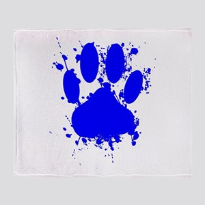 Blue Paint Splatter Dog Paw Print Throw Blanket