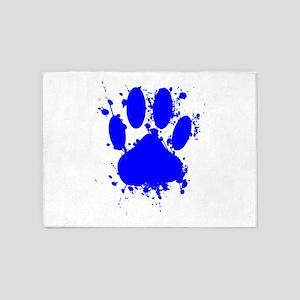 Blue Paint Splatter Dog Paw Print 5'x7'Area Rug