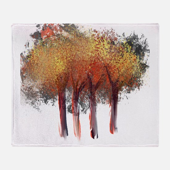 Red Trees Glowing Yellow Throw Blanket
