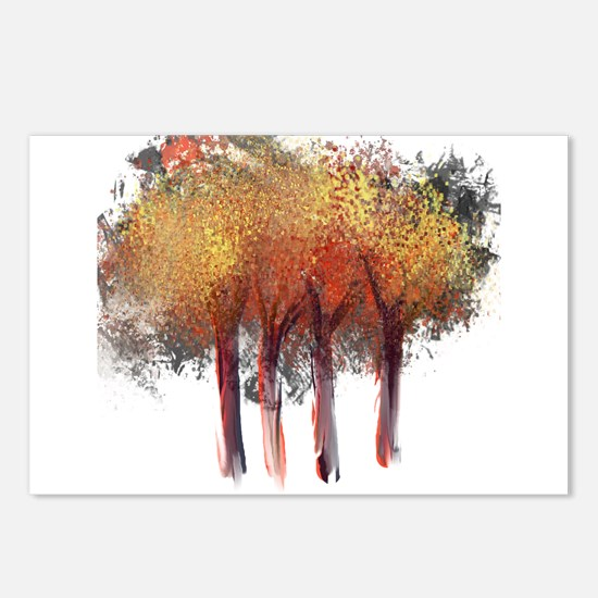 Red Trees Glowing Yellow Postcards (Package of 8)