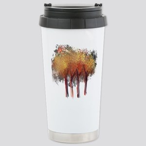 Red Trees Glowing Yello Stainless Steel Travel Mug