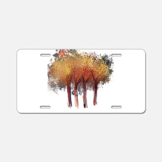 Red Trees Glowing Yellow Aluminum License Plate