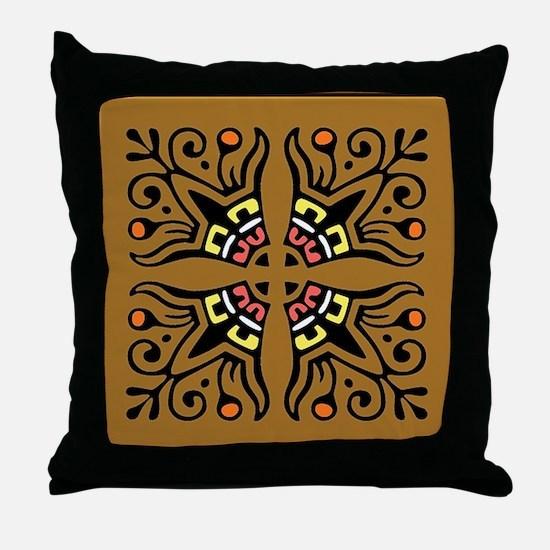 Folk Art Tiles Throw Pillow