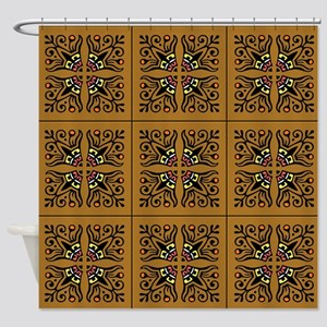 Folk Art Tiles Shower Curtain