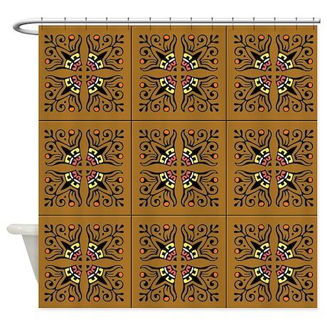 Folk Art Tiles Shower Curtain