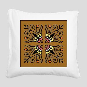 Folk Art Tiles Square Canvas Pillow