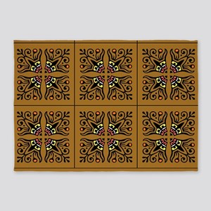 Folk Art Tiles 5'x7'Area Rug