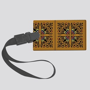 Folk Art Tiles Large Luggage Tag
