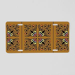 Folk Art Tiles Aluminum License Plate