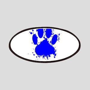 Blue Paint Splatter Dog Paw Print Patch