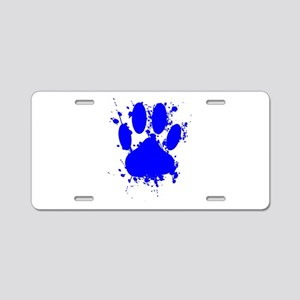 Blue Paint Splatter Dog Paw Aluminum License Plate