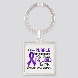 Alzheimer's MeansWorldToMe2 Square Keychain