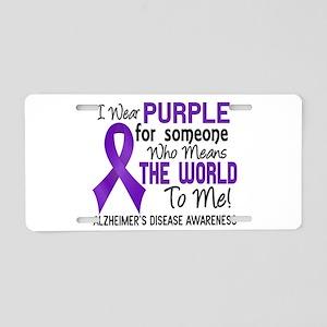 Alzheimer's MeansWorldToMe2 Aluminum License Plate