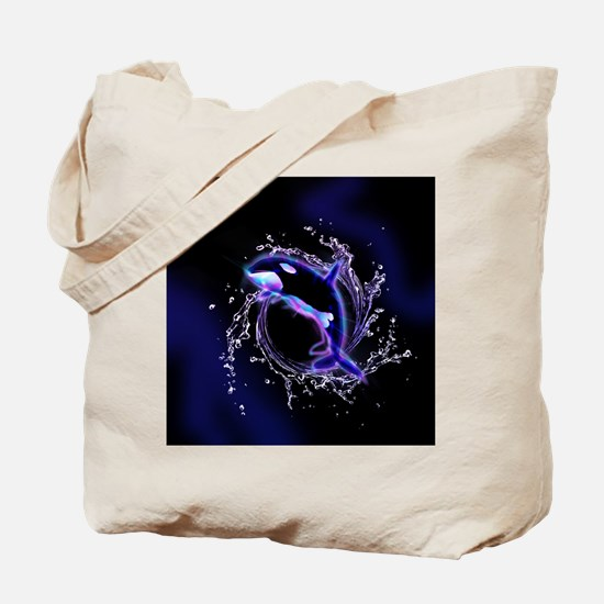 Orca jumping by a circle made og water Tote Bag