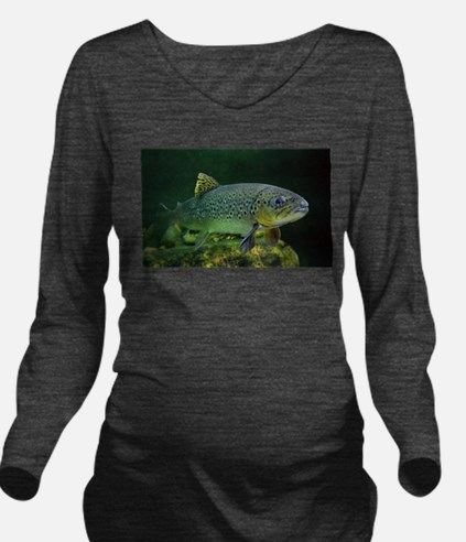 BROWN TROUT Long Sleeve Maternity T-Shirt