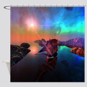 Ship in the sunset Shower Curtain