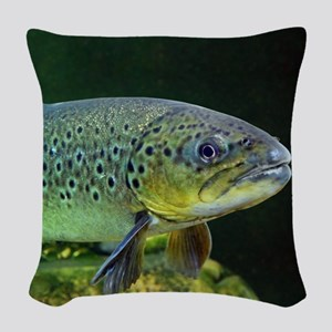 BROWN TROUT Woven Throw Pillow