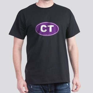 Connecticut CT Euro Oval PURPLE Dark T-Shirt