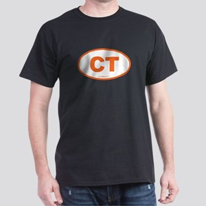 Connecticut CT Euro Oval ORAGNE Dark T-Shirt