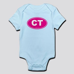 Connecticut CT Euro Oval PINK Infant Bodysuit