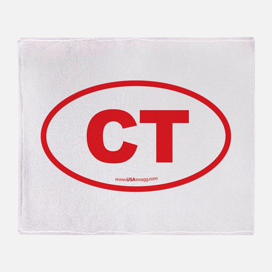 Connecticut CT Euro Oval RED Throw Blanket
