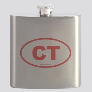 Connecticut CT Euro Oval RED Flask