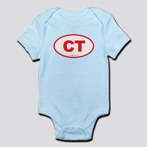 Connecticut CT Euro Oval RED Infant Bodysuit