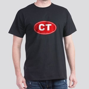 Connecticut CT Euro Oval RED Dark T-Shirt