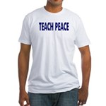 Teach Peace Fitted T-Shirt - blue