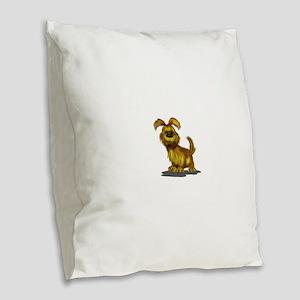 Fuzzy puppy Burlap Throw Pillow