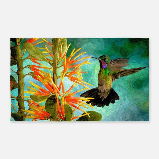 Hummingbird And Flowers Area Rug