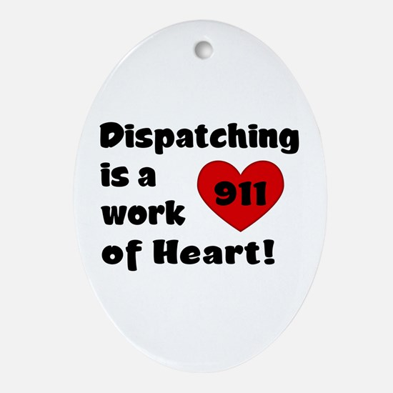 Dispatching Heart Oval Ornament