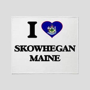 I love Skowhegan Maine Throw Blanket