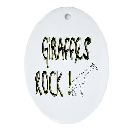 Giraffes Rock ! Oval Ornament
