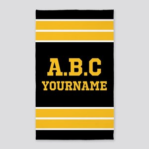 Black Yellow Jersey Stripes Personalized Area Rug