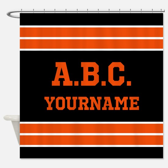 Orange and Black Jersey Stripes Per Shower Curtain
