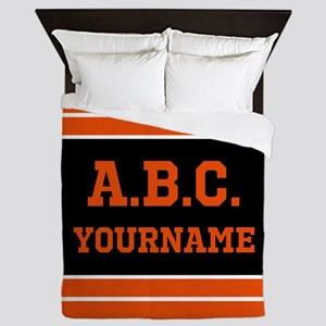 Orange and Black Jersey Stripes Person Queen Duvet