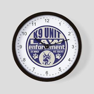 K9 In Dogs We Trust Blue Wall Clock