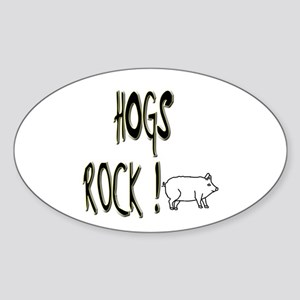 Hogs Rock ! Oval Sticker